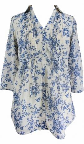 1-0328 Krekls ar ziliem ziediņiem