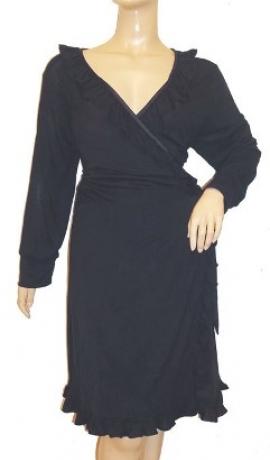 3-0130 Melna elastīga kokvilnas midi kleita