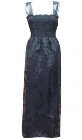 3-0071 Maxi melna kleita ar spīdumiņiem un rakstu