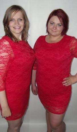 3-0053 Sarkanas krāsas mežģīņu kleita