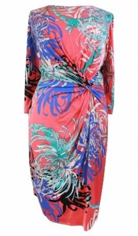 3-0137 Rozā & zila & zaļa midi kleita