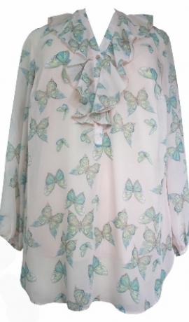 1-0500 Gaiši rozīgs šifona krekls ar tauriņu apdruku
