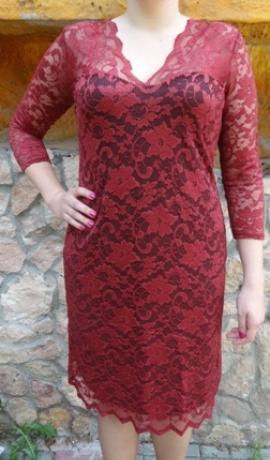 3-0344 Sarkana mežģīņu kleita