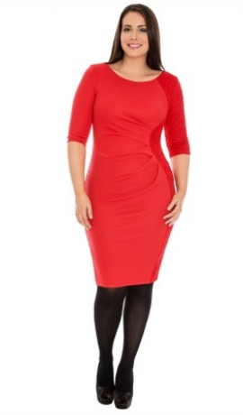 3-0350 Sarkana kleita ar savilkumu un mežģīni