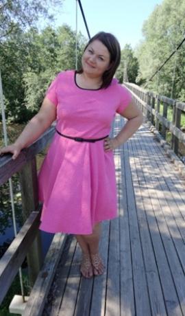 3-0297 Rozā kleita ar jostiņu
