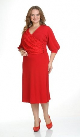3-0209 Sarkana kleita ar mežģīņu dekorējumu