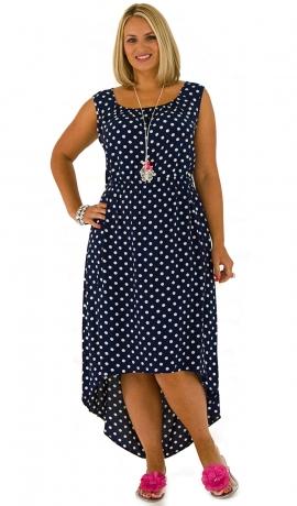3-0308 Zila kleita ar punktiņiem un garu aizmuguri