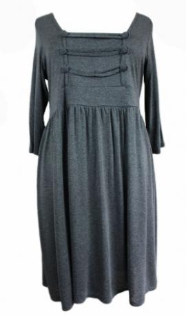 3-0093 Pelēka militārstila kleita ar dekoratīvu priekšu