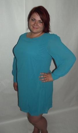 3-0052 Tirkīza zila kleita ar garām rokām