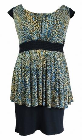 3-0144 Dzelteni melna Peplum kleita