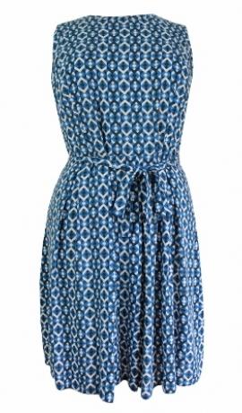 3-0146 Zila & melna & balta rombiņraksta kleita