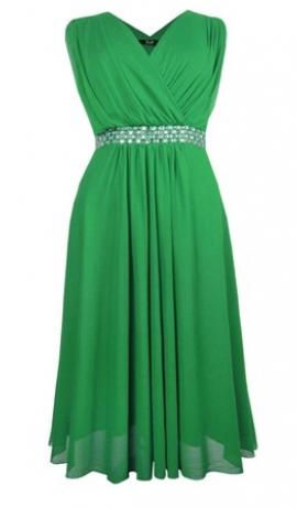 3-0395 Zaļa kleita ar spīdumiem