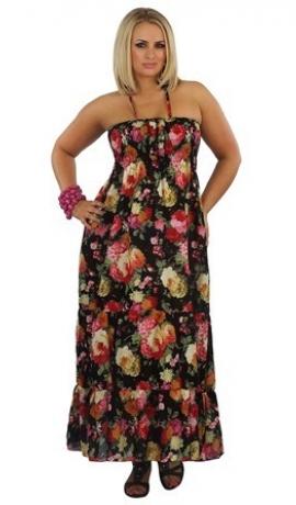 3-0055 Melna kleita ar puķēm