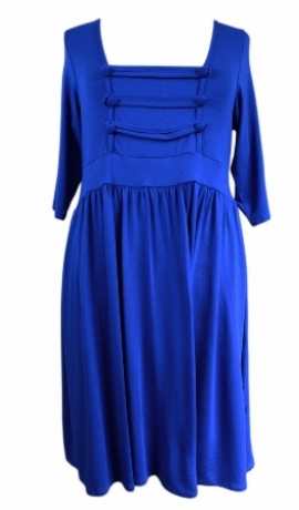 3-0094 Zila militārstila kleita ar dekoratīvu priekšu