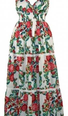 3-0072 Balta maxi kleita ar rožu apdruku