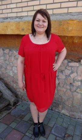 3-0243 Sarkana šifona kleita