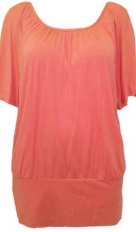1-0311 Rozīgi oranža tūnika ar sakrustotām lencēm uz muguras
