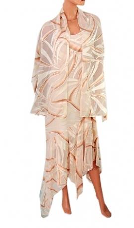 3-0047 Gaiša kleita ar lencītēm un šalli