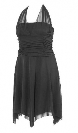 3-0023 Melna asimetriska kleita ar sasienamu kakla daļu