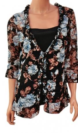 1-0392 puķainu mežģīņu divi vienā krekls