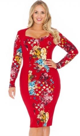 3-0365 Sarkana & puķaina kleita