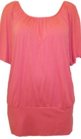 1-0312 Koraļļu rozā tūnika ar sakrustotām lencēm uz muguras