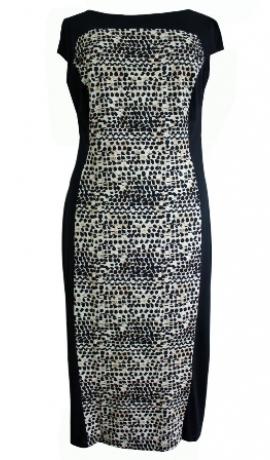 3-0189 Melna punktiņu raksta kleita ar melniem sāniem