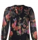 1-0469 Puķains melns krekls ar sasienamu apkaklīti